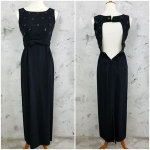 VINTAGE 60's Black Sequined Backless Evening Gown